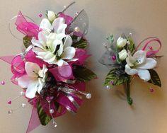 Silk fuchsia pink prom corsage   letsdancegarters.com