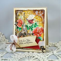 Rain Puddles Design: Mixed Media Challenge with Stampendous Eiffel Collage Stamp, Loving Messages and Copper Lux Mix.