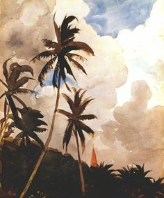 Palm Trees Bahamas Poster by Homer Winslow. All posters are professionally printed, packaged, and shipped within 3 - 4 business days. Art And Illustration, Illustrations, Watercolor Landscape, Watercolor Paintings, Watercolors, Guache, Art Design, Oeuvre D'art, American Art