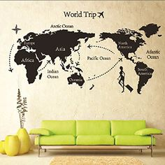$7.99  - DIY Removable Art Vinyl Quote Wall Sticker Decal Home Room Decor World Map * You can get more details by clicking on the image. (This is an affiliate link) #WallStickersMurals