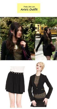 "On the blog - PLL sneak peek: Aria's studded blazer & skirt | Pretty Little Liars - ""Face Time"" (Ep. 404) #tvfashion #outfits #fashion"