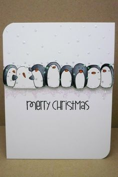 Paper Moonpie's Christmas card using Penny Black penguins - Dec. 2013