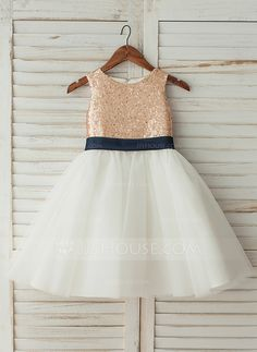 59bf4b94 A-Line/Princess Knee-length Flower Girl Dress - Satin/Tulle/Sequined  Sleeveless Scoop Neck With Sequins/Bow(s) (Undetachable sash) (010123031)