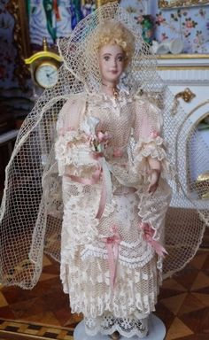 unknown artist - porcelain woman in Victorian lace wedding gown