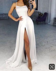 Elegant Dresses, Pretty Dresses, Beautiful Dresses, Party Gowns, Homecoming Dresses, White Prom Dresses, Straps Prom Dresses, Wedding Dresses, Long Party Dresses