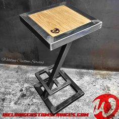 Stool bar design steel and wood industrial made to image 1 Welded Furniture, Steel Furniture, My Furniture, Custom Furniture, Coffee Table Metal Frame, Designer Bar Stools, Bar Seating, Wood Species, Wood And Metal
