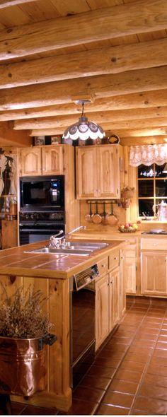 Charming log home kitchen