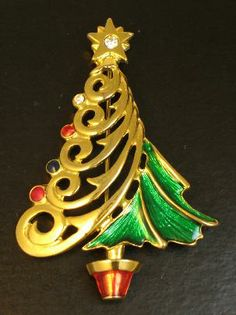 Signed Christopher Radko Christmas Tree Brooch
