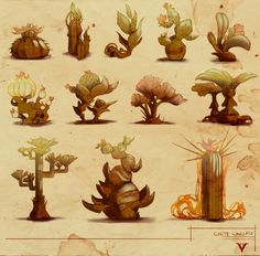 Cacti and succulents concepts, Virginie Cabana on ArtStation at https://www.artstation.com/artwork/N4zqd