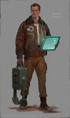 001 Roving Medic Final Small by komix Character Concept, Character Art, Concept Art, Concept Ships, Steampunk, Gangsters, Star Citizen, Science Fiction, Shadowrun Rpg