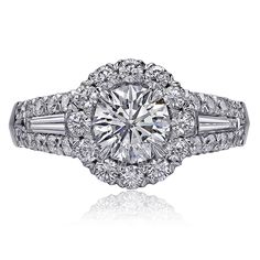Round Crisscut Diamond Engagement Ring with Tapered Baguettes surrounded Diamond Halo and Frame at Orly Diamonds Round Diamond Ring, Halo Diamond Engagement Ring, Designer Engagement Rings, Diamond Wedding Rings, Round Diamonds, Christopher Designs, Contemporary Engagement Rings, Thing 1, Ring Designs