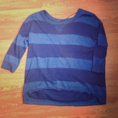 Blue Striped 3/4 Sleeves Sweater Worn once, very nice light sweater. Has about an inch of high low and the sleeves come to the elbow. The light blue stripes do sparkle. Juniors' medium. a.n.a Tops