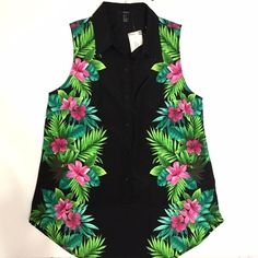 Tropical Sleeveless Button Down Forever 21 tropical print, sleeveless button down. NWT. Short in the front, longer in the back. Forever 21 Tops Button Down Shirts