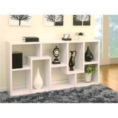 Hokku Designs Masima Unique Bookcase / Display Cabinet in White Wood Shelves, Shelving, Corner Shelves, Floating Shelves, Dark Painted Walls, Modern Bookcase, Bookcase White, White Laminate, White Houses