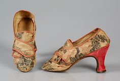 Shoes, silk brocaded with metallic thread with satin heel cover and leather soles, 1760-75, probably French.