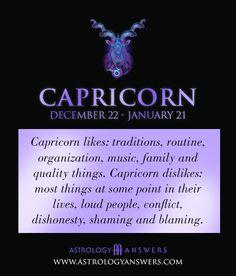Capricorn likes and dislikes Günlük Burç Yorumları Capricorn Aquarius Cusp, All About Capricorn, Capricorn Quotes, Zodiac Signs Capricorn, Capricorn And Aquarius, My Zodiac Sign, Astrology Zodiac, Zodiac Quotes, Zodiac Facts