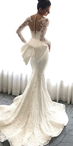 Guide To Help You Become An Expert With Wedding Dress Styles Wedding Gown Styles: Become An Expert Before Shopping ❤ mermaid with long sleeves tattoo effect back with bow steven khalil wedding gown styles ❤ Full gallery: weddingdressesgui… Fancy Wedding Dresses, Wedding Dress Types, Dresses Elegant, Stunning Wedding Dresses, Wedding Dress Shopping, Bridal Dresses, Wedding Gowns, Lace Wedding, Romantic Dresses
