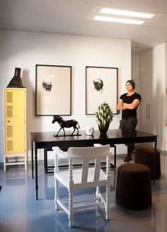 Laurie's workspace houses a Gregor Jenkin table.The vase and skull are by Ceramic Matters and the sculpture by Otto du Plessis. Furniture, Room, House, Interior, Interior Inspiration, Dining, Black Building, Home Decor, Inspiration