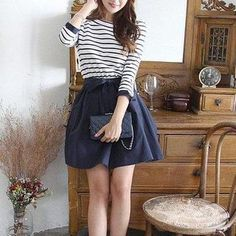 Buy Fashion Street 3/4-Sleeve Striped Tie Waist Dress at YesStyle.com! Quality products at remarkable prices. FREE WORLDWIDE SHIPPING on orders over US$35.