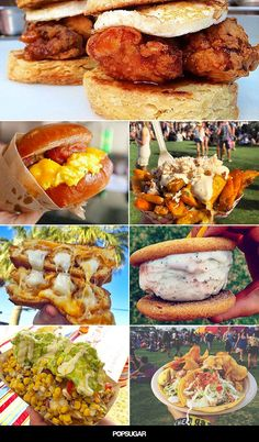 You have to see the INSANELY delicious foods people are eating at Coachella, from mozzarella sticks grilled cheese to snickerdoodle ice cream sandwiches. Coachella Food, Coachella Party Theme, Wine Recipes, Cooking Recipes, Healthy Recipes, Healthy Food, Party Food Themes, Food Festival, Festival Fashion