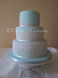 Duck Egg Blue Lace Wedding Cake