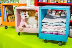 Make #organizing fun with these DIY rolling #storage #cubbies by lifestyle expert @carteroosterhou. For more great DIYs check out Home & Family weekdays at 10a/9c on Hallmark Channel!