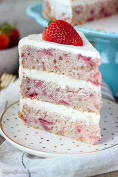 This fresh homemade Strawberry Cake is covered with a lemon Swiss Meringue Buttercream. The cake is incredibly moist and bursting with fresh strawberry flavor. # strawberry cake Fresh Strawberry Cake with Lemon Swiss Meringue Buttercream Homemade Strawberry Cake, Fresh Strawberry Cake, Strawberry Desserts, Strawberry Cake From Scratch, Delicious Desserts, Dessert Recipes, Yummy Food, Cupcake Recipes, Food Cakes
