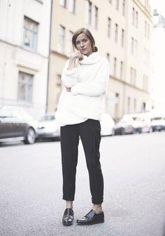 white knit / black pants / minimal /