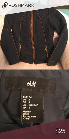 H & M jacket👠final sale👠 H & M navy jacket with brown piping and outlined elbow patch in brown piping tow zip pockets on the front size 4 H&M Jackets & Coats