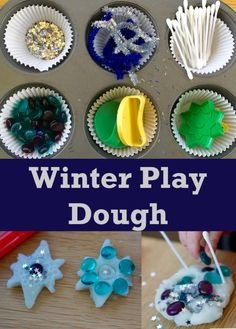 This is a simple winter play dough invitation to play with white play dough and sparkles. It's suitable for all ages and great for learning and development. Messy Play, Play Dough, Sensory Play, Winter Theme, Preschool Activities, Sparkles, Craft Supplies, Invitations, Learning