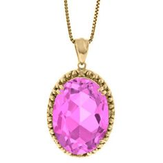 Large Oval Pink Sapphire Gemstone Diamond Pendant In Yellow Gold Available Exclusively at Gemologica.com