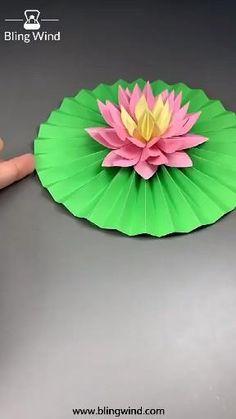 Paper Flowers Craft, Paper Crafts Origami, Paper Crafts For Kids, Flower Crafts, Diy Origami, Diy Crafts Hacks, Diy Crafts For Gifts, Creative Crafts, Paper Lotus