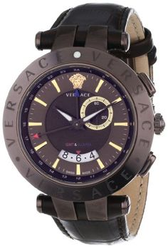 Versace Men's 29G60D598 S497 V-Race Brown Ion-Plated GMT Alarm Date Leather Watch Versace