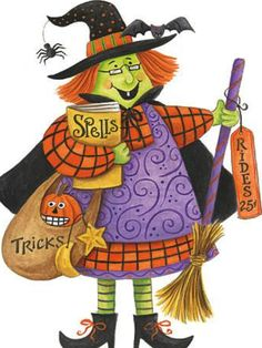 Witch!! this is the witch on the material I'm using to make a halloween table runner...awesome