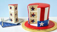 A replica of Uncle Sam's Hat made from cake that when cut reveals red and blue stars inside!