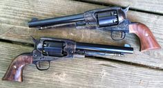 A pair of customized Ruger black powder revolvers.  Great color case hardening on the frames.