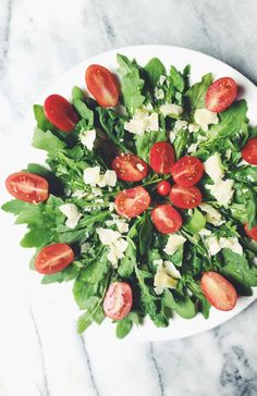 everyday Italian recipes: parmesan, cherry tomatos and arugula salad
