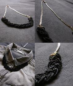 Short necklace - little beads and  chain