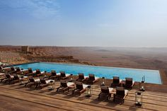 Pool of the Beresheet Hotel overlooking the 200-million-year old-Ramon Crater in Mitspe Ramon, Israel. Spectacular!