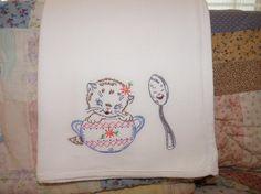 Tea Pot Kitten Flour Sack Dish Towel by DMYEmbroideryDesign, $5.00
