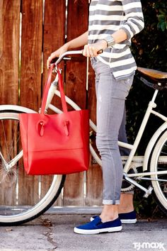 Weekend errands call for comfy-cute basics. This striped tee, gray denim and slip-on sneakers make the perfect out-and-about look. A red leather tote dresses up the outfit in case you want to pop into a shop or restaurant.