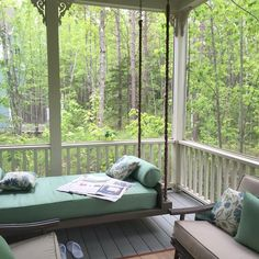 """""""We were so thrilled with Hidden Pond in Kennebunkport that it was well worth highlighting. Some Enchanted Evening, Enchanted Home, Screened In Porch, Porch Swing, Take A Seat, Two Bedroom, Outdoor Furniture, Outdoor Decor, Beautiful Gardens"""