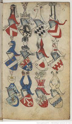 Ancien armorial colorié, où sont figurés les blasons de différents princes et seigneurs de France, Allemagne, Flandre, Angleterre, Espagne, Italie, etc. Cet armorial est vraisemblablement d'origine flamande. Premier mot : « Daufin ». Dernier mot : « le S r de Senlis »