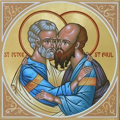 his icon depicts Saints Peter and Paul embracing one another.  by the hand of Deacon Matthew Garrett