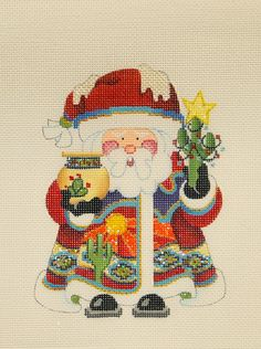 "Saguaro Santa by Strictly Christmas $54.00, 18 mesh, 6""x4.5"""