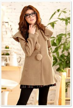 Korean Fashion Fur Ball Cape Woolen Coat