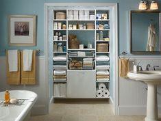 bathroom closet design home interior cheap designs Bathroom Linen Closet, Small Bathroom Storage, Bathroom Organization, Organization Ideas, Organized Bathroom, School Organization, Bath Storage, Linen Closets, Towel Storage