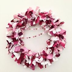 Valentine Wreath Pink, Valentine Wreath Front, Door Wreath, Front Door Decoration, Burlap Valentines Day Wreath, Rag Wreath, Upcycled Wreath The fabric used in this fun multi colored wreath for Valentines Day is 100% UPCYCLED and RECYCLED! ������ I used cut-up shirts, pants, skirts, sweaters, jeans, a #BuyFabric