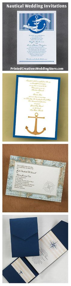 These classic nautical wedding invitations and several matching accessories are available at www.PrintedCreationsWeddingStore along with many other wedding invitation designs. #nauticalwedding