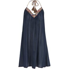 Star Mela Ina Cotton Embroidered Sun Dress - Navy found on Polyvore